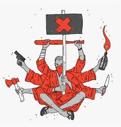 Symbol aggressive protest vector