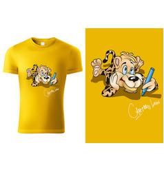 T-shirt design with cartoon leopard vector