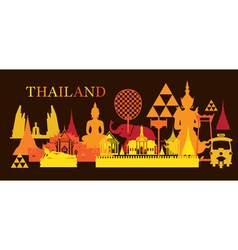 Thailand Landmark Colorful Shapes Dark Background vector