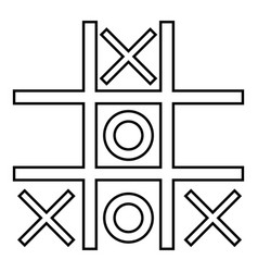 Tic tac toe game icon black color flat style vector