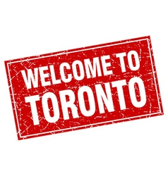 Toronto red square grunge welcome to stamp vector