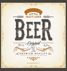 Vintage beer label for bottle vector