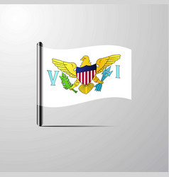 Virgin islands us waving shiny flag design vector