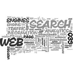 web analytics and seo text word cloud concept vector image