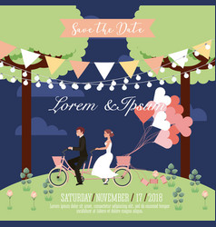wedding couple riding in tandem bike balloons park vector image