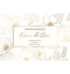 Wedding invitation wild rose luxury shiny golden vector
