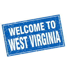 West virginia blue square grunge welcome to stamp vector