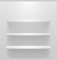 white empty shelf on white wall mockup vector image