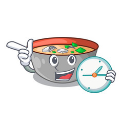 With clock asian soup cup isolated on mascot vector