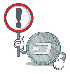 with sign dash coin character cartoon vector image
