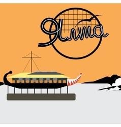 Yalta the embankment ship restaurant orange vector image