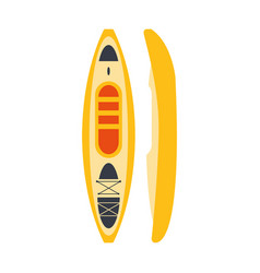 yellow plastic kayak from two perspectives part vector image