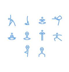 yoga icons mono symbols vector image