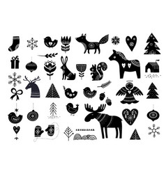 christmas hand-drawn elements vector image vector image
