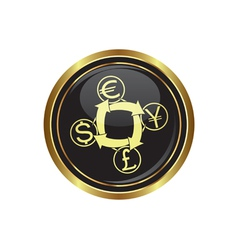 currency exchange icon button gold copy vector image
