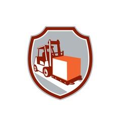 Forklift Truck Box Shield Retro vector image vector image