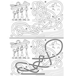 Happy family maze vector image vector image
