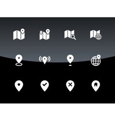 Map icons on black background GPS and Navigation vector image