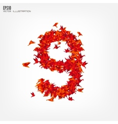 Number 9 Numbers with origami paper bird on vector image