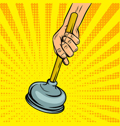 plunger pop art style vector image vector image