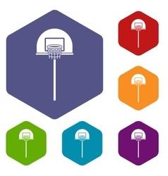 Street basketball hoop icons set vector