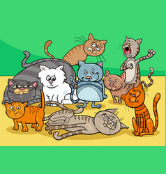 cats characters group cartoon vector image vector image