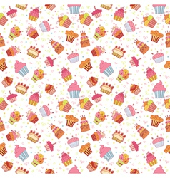 Cute seamless pattern with cupcakes Birthday party vector image