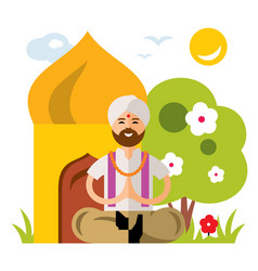 india yoga flat style colorful cartoon vector image vector image