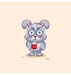 isolated Emoji character cartoon Gray leveret vector image