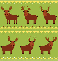 Moose and elk seamless pattern with different vector