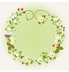 Wreath Frame Card Vintage Wooden sign Floral Bird vector image vector image