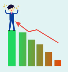 businessman get money with successful graph vector image