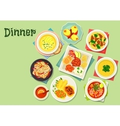 Dinner menu dishes with exotic fruit dessert icon vector