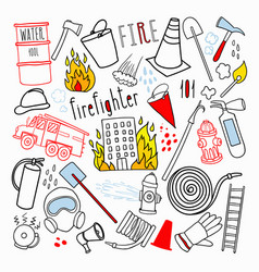 Firefighting hand drawn doodle firefighter vector