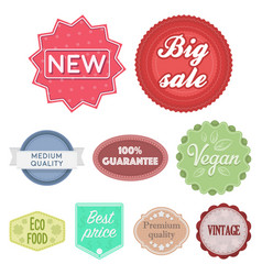 label set icons in cartoon style big collection vector image