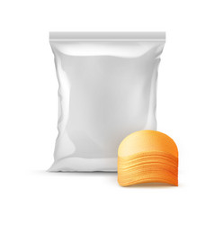sealed foil plastic bag with stack of potato chips vector image vector image