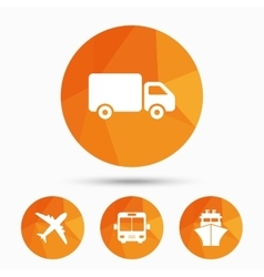 Transport icons Truck Airplane Bus and Ship vector image vector image