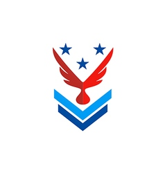 wing eagle star military logo vector image vector image