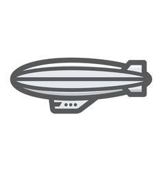 Airship blimp filled outline icon transport a vector