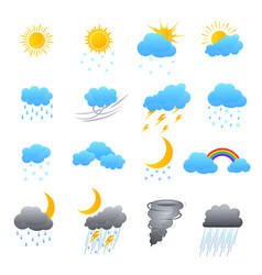 Cartoon weather color icons set vector