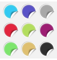 Colorful nine blank stickers set badge collection vector