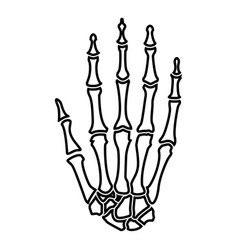 hand bone icon black color flat style simple image vector image vector image