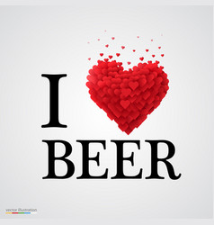 i love beer heart sign vector image vector image