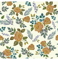 Seamless Vintage Watercolor Ornament with Roses vector image