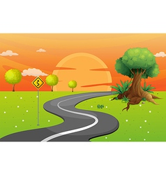A winding road vector image