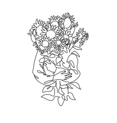 Abstract face with flowers one line draw vector