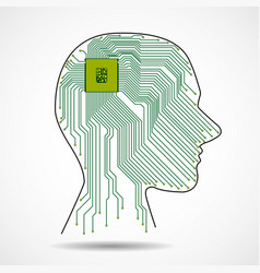 abstract human head with cpu circuit board vector image