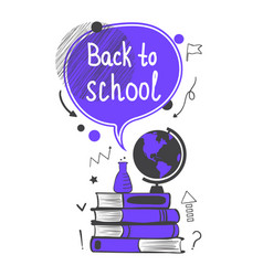 back to school concept with violet speech bubble vector image