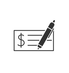 Bank check black icon vector