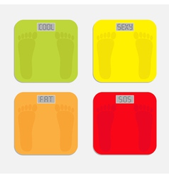 Bathroom floor electronic weight scale set vector